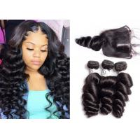 China Long 9A Peruvian Loose Wave Hair / 16 Inch Loose Wave Weave No Smell wholesale