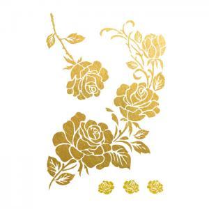 China Gold Rose Metallic Temporary Tattoo , Customized Beautiful Flower Tattoos wholesale