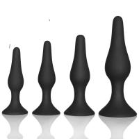 China Couple pleasure body safe Anal Sex Toys 4 Piece purple black Silicone Anal Plug butt plug Set wholesale