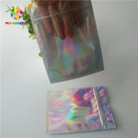 China Hologram Zipper Customized Paper Bags Holographic Stand Up CMYK For Cosmetics wholesale