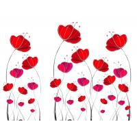 China Red Flowers Bamboo Fiber Decorative Wall Panel Sheets Environment Friendly wholesale