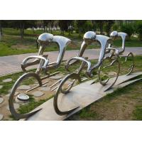 China Metal Abstract Cyclist Sculpture Stainless Steel For Garden Decoration wholesale