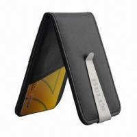 China Leather Credit Card Holder with Money Clip, Keep in Stock, MOQ is 100pcs wholesale