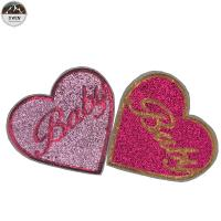 China Heart Custom Embroidered Logo Patches , Cute Handmade Embroidered Patches on sale