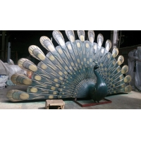 China Abstract Wrought Bronze Animal Statues Copper Peacock Contemporary Outdoor Statues wholesale