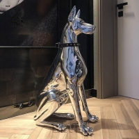 China BLVE Stainless Steel Life Size Guard Doberman Dog Statues Sculpture Modern Art Shiny Metal Indoor Home Decoration wholesale