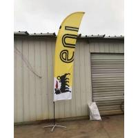 China Single Sided Bow advertising feather flags with black cross base and pvc water bag wholesale