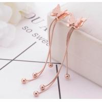 China Fashionable Stud Butterfly  Jewelry , Ball Dangle Tassel Stainless Steel Earring, Rose Gold butterfly stud Earring on sale