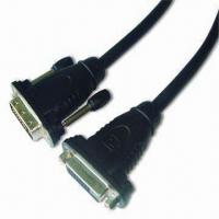 China DVI Jack to DVI Socket Cable with Molded Plastic Shell and Nickel Connector Plug Contacts wholesale