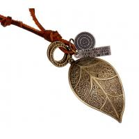 China Big leaf head layer cowhide necklace restoring ancient ways Leather necklace wholesale