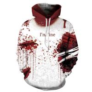 China Unisex Hoodies Binmer Mens Women I'm Fine Halloween Sweatshirt Long Sleeve Casual Hooded Pullover Tops wholesale