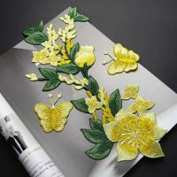 China Yellow Flower Sew On Embroidered Patches Lace Appliques For Clothing 14 X 32 CM wholesale