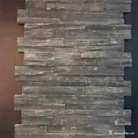 China Black Slate Stone Wall Rockface Cladding , Slate Cultured Stone Wall Panels wholesale