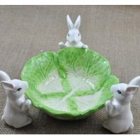 Creative rabbit fruit tray plate green and white