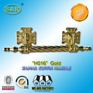 China Dia. 20mm zinc alloy coffin handle H016 zamak coffin bar gold color Italy quality size 12.5*10 cm wholesale
