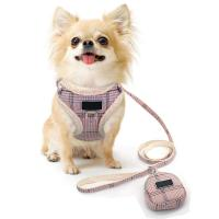 China No Pull Escape Proof Breathable Mesh Dog Harness Classic Plaid Back Openable Fit Small Dogs Cats on sale