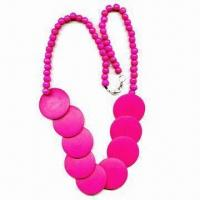 China Lovely Handmade Necklace, Made of Wooden Beads and Discs, with Lobster Clasp on End wholesale