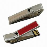 China USB Flash Drives with Paper Clip, USB 2.0 Interface and 8 to 14Mbps Reading Speed wholesale