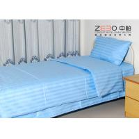 China 100% Cotton Plain Stripe Hospital Bed Sheet White / Blue / Pink Color wholesale