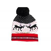China Acrylic Reindeer Pattern Warm Winter Accessories LED Light Knitted Christmas Hat wholesale