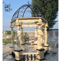 China Marble Gazebos Beige Garden Stone Lady Relief columns Hand-Carved With Iron Dorm wholesale