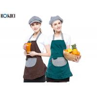 China Contrast Color Custom Embroidered Aprons Working Cooking For Coffee Shop wholesale