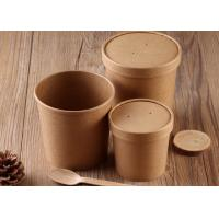 China Disposable Kraft Paper Soup Cups Containers With Cover And Spoon 16oz 20oz Size wholesale