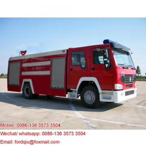 China howo fire fighter truck foam tanker truck jetting foam range 45M on sale