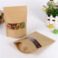 China Mylar Zipper Kraft Paper Bag With Clear Window For Coffee Bean / Cookie / Candy on sale