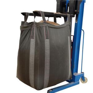 China PP Woven Fibc Packing 1 Ton Bulk Bag Black Cross Corner Available Side Discharge Design wholesale