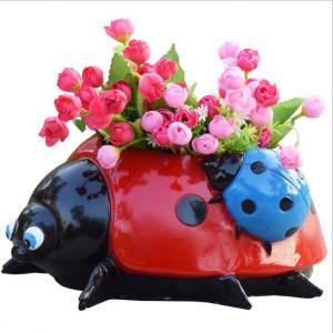 China polyresin Ladybug statue animal planter for garden decoration flower pot on sale