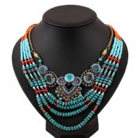 China 2015 African Fashion Beach Jewelry Blue Handmade Multi layers Bead Chain Women Necklace on sale