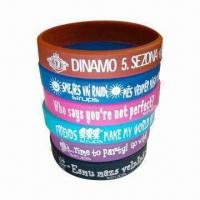 Buy cheap Promotional Silicone Wristbands, Available with Embossed, Debossed or Printing Logo from wholesalers
