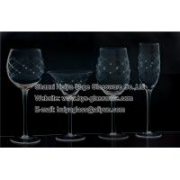 China clear engraved wine glasses with diamond glassware supplier on sale