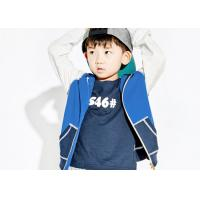 China Contrast Color Terry Kids Boys Clothes Full Open Navy Blue Hoodie OEM Service on sale