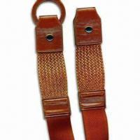 China High-quality Stylish Elastic Belts with Braided PU Leather, Round Ring and 2-inch Width wholesale