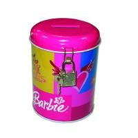 China round coin bank tin box with lock wholesale