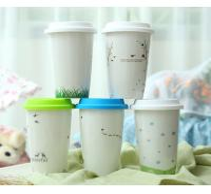 China high quality white porcelain travel mug/coffee mug with PP cap on sale
