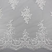 China Floral Embroidery Eyelash Corded Lace Fabric For Bridal Wedding Dresses wholesale