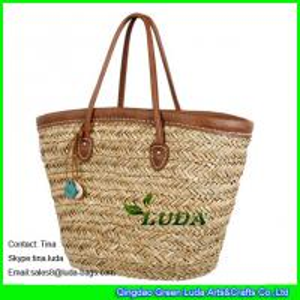 China LUDA natural seagrass straw braided handmade straw beach bags wholesale