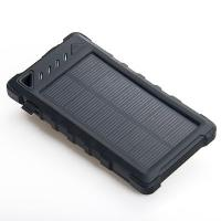 China Outdoors 8000mAh Dual USB Waterproof Solar Power Bank with Camping light and Counterfeit Detector wholesale