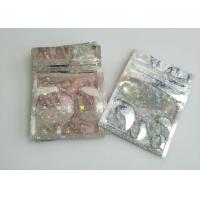 Childproof Three Side Seal Pouch Holographic Laser Mylar Foil Lined With Zipper