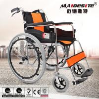 China Comfortable Aluminium Folding Wheelchair Skid Proof Handle Brake / Rear Brake wholesale