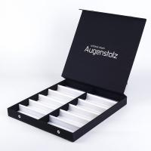 China Free samples Black paper kraft box sliver foil logo cosmetic box ome perfume box wholesale