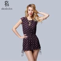China Summer Sleeveless, Sexy V-neck Wave Point Women Casual Shorts, A Rope Beside Him wholesale