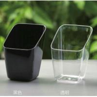 Clear Plastic Dessert Cups 70ML , Disposable Square Plastic Jelly Bowls