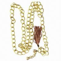 China Gold chain belt with suede tassel tie at the end, length is subjected to change wholesale