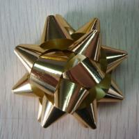 China 90U - 200U Thickness Gold gift bows , 3mm - 150mm width Christmas wrapping bows wholesale