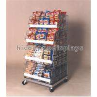 China Movable Retail Store Fixtures Freestanding 4 Layer Silver Metal Snack Display Stand wholesale