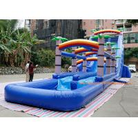 China water slide factory PVC Tarpaulin  coconut tree inflatable commercial slide with pool  For Event inflatable Bounce Slide wholesale